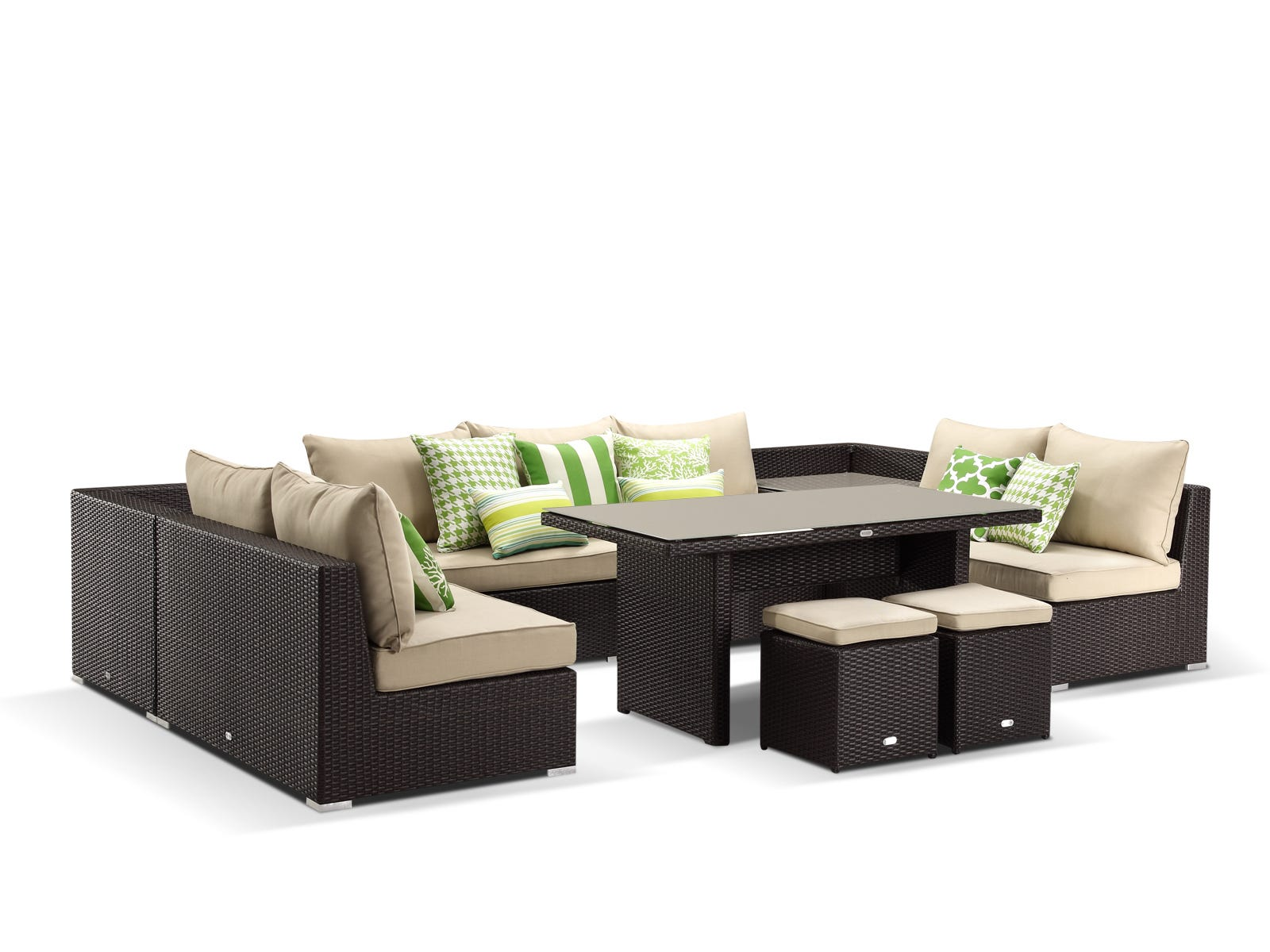 Como 6pc Outdoor Modular Lounge Setting Dark Bronze Sand